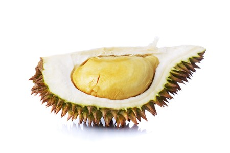 A durians piece isolated on white background. photo