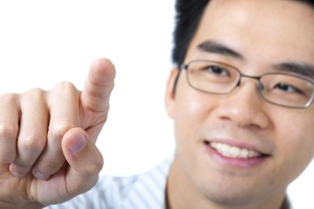 Asian business man pressing on a blank space photo