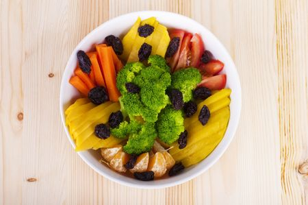 upperdeck view: Upperdeck view fresh fruit and vegetable salad. Stock Photo
