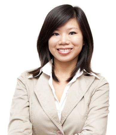 Arms crossed Asian Educational / Business woman on white background Stock Photo - 7242972