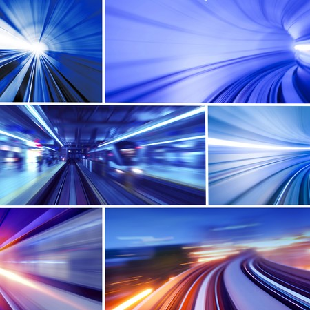 トンネル: 輸送コンセプトの写真のコラージュ。すべての写真は私に属しています。