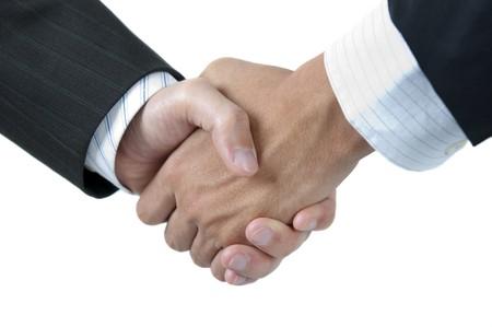 confianza concepto: Empresarios agitando las manos aisladas sobre fondo blanco  Foto de archivo