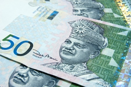 Close up on 50 Ringgit Malaysian papernotes photo