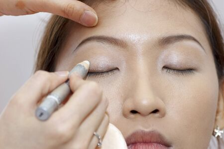 Woman applying cosmetic with applicator. Make-up treatment. Stock Photo - 7569601