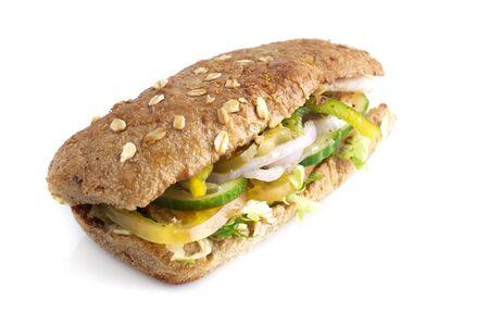 Close up fresh sandwich isolated on white background. photo