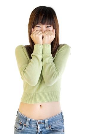 unbelievable: Mujer asi�tica muy feliz y sorprendida. Aislados sobre fondo blanco.