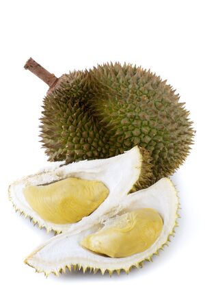 exoticism: King of fruits, durian on white background