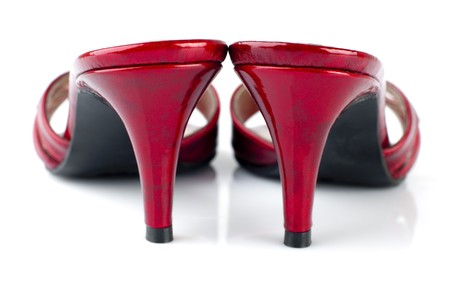Pairs of woman high heels at rear view, on white background photo