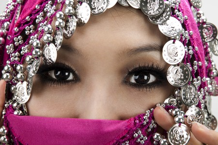 Close up picture of a Muslim woman wearing a veil photo