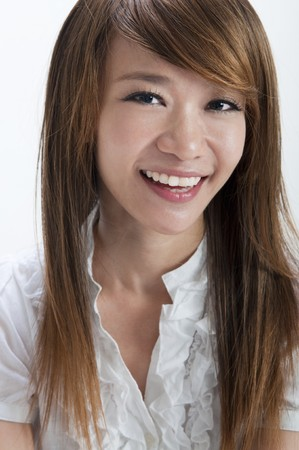 Portrait of cute Asian girl smiling on white background photo