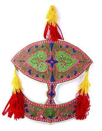 kelantan: Malaysian traditional Wau or moon kite on white. Stock Photo