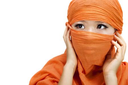 burka: Immagine di una donna musulmana di indossare il velo da vicino