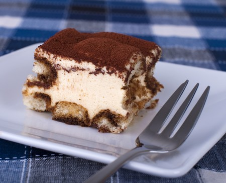 Close up portion of tiramisu on a plate photo