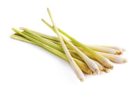 Bundle of Fresh Lemon Grass on white background photo