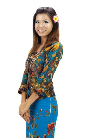 sarong: Portrait of a Malay woman with kebaya on white background