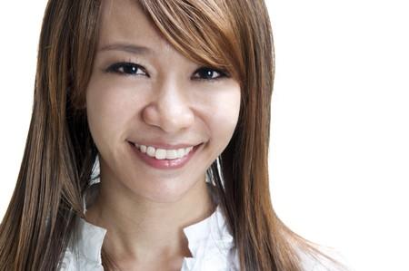 Close up cute Asian female smiling photo