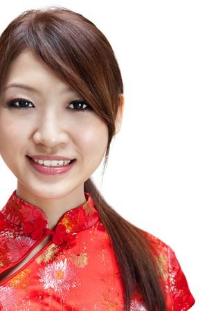 Cute Oriental girl on white background photo