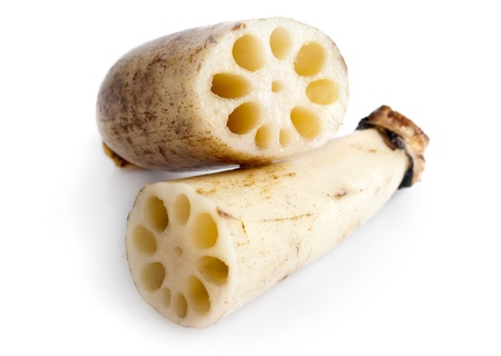 holey: Close up Lotus root on white background