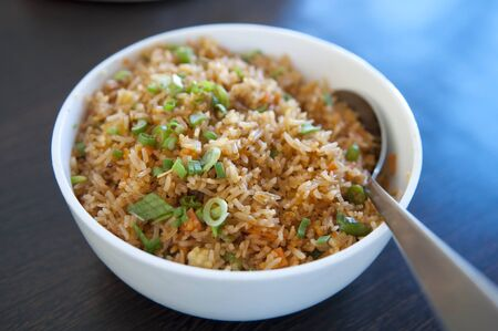 meatless: A bowl of delicious oriental fried rice Stock Photo