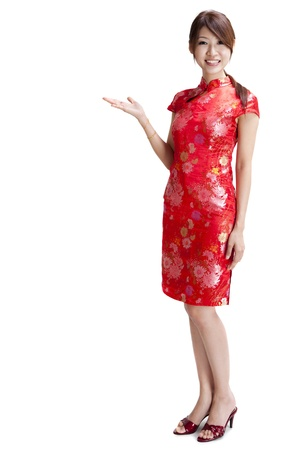 whole body: Asian Chinese woman in Traditional Chinese Cheongsam gesturing