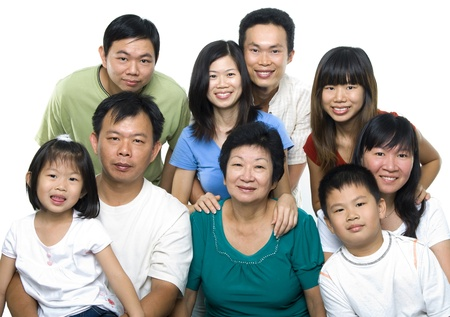 Asian family portrait on white background, 3 generations. Stock Photo - 8422494