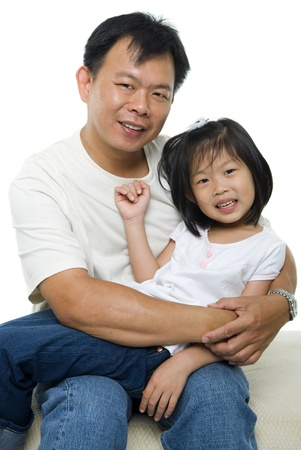 Asian father and daughter on white background Stock Photo
