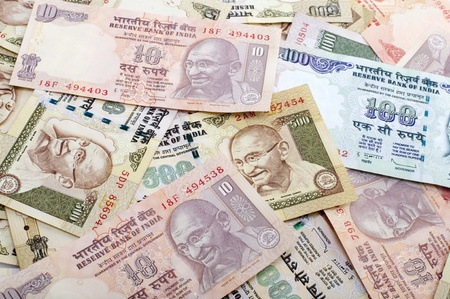 rupee: Indian Rupee bank notes background Stock Photo
