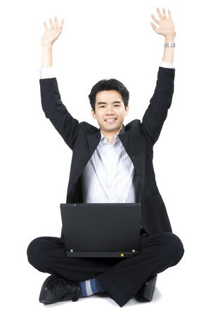 Full body of a happy Business man with laptop on  background photo
