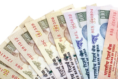 Indian Rupee bank notes on white background photo