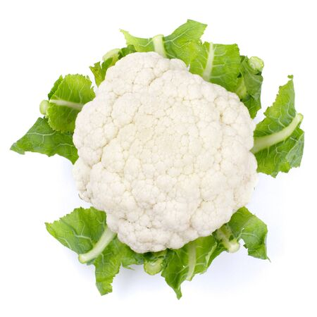 Studio shot of a cauliflower isolated on white, overhead view. photo