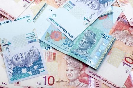 Close up Malaysia ringgit of 1, 10 and 50.