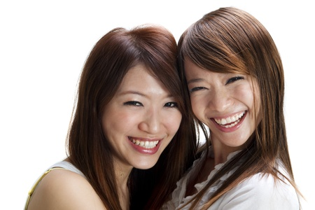asian youth: Happy young Asian female having fun together. Stock Photo