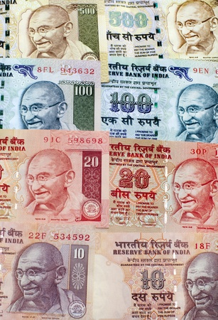 gandhi: Indian Rupee bank notes background Stock Photo