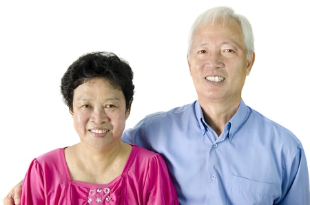 Asian Senior Couple on white background photo