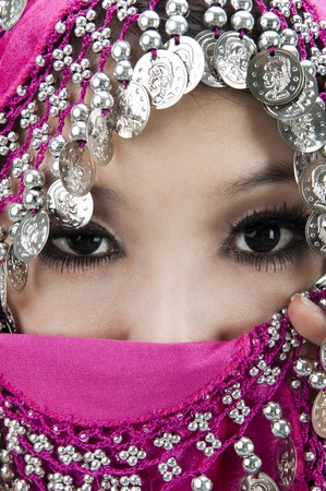 purdah: Close up picture of a Muslim woman wearing a veil