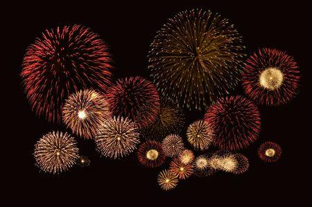 Beautiful fireworks on black background photo