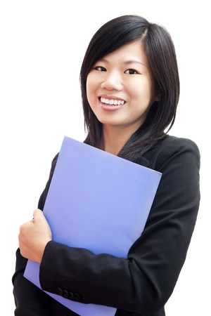 girl notebook: Young Business Women holding file standing on white background