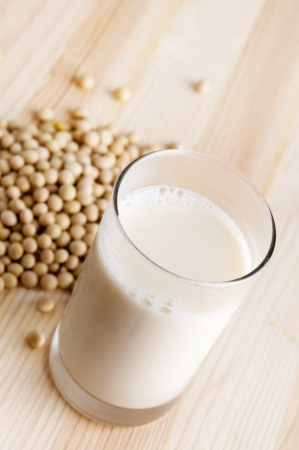 soya beans: Fresh soy milk and raw soy bean Stock Photo
