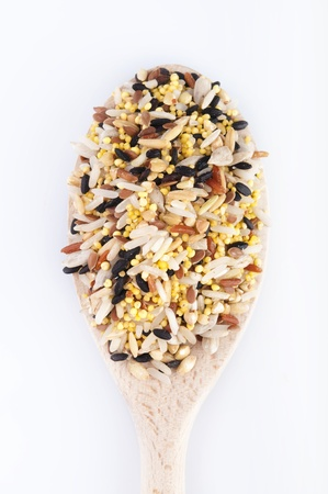 Multi Raw grains on wodden spoon, mixed of 12 different grains Stock Photo - 9038707