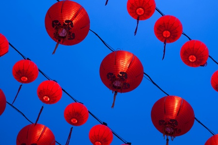 Red lanterns display at Buddhism temple. Red is lucky colour for Chinese. photo