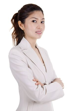 folded arms: Asian EducationalBusiness woman on white background Stock Photo