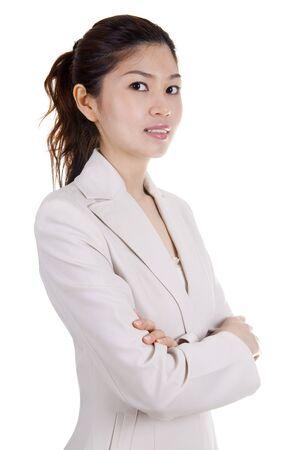 mani incrociate: Donna asiatica del materiale didatticoBusiness su sfondo bianco