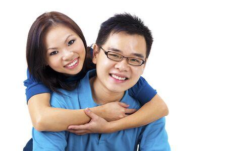 Beautiful Loving Couple on white background Stock Photo - 9181327