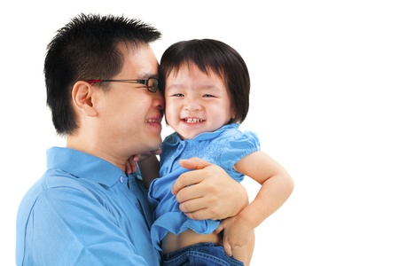 Happy father and daughter on white background photo