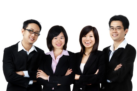 Asian business team on white background Stock Photo - 9446339