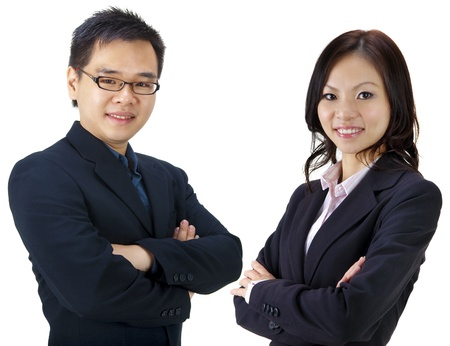 asian office lady: Asian business team on white background