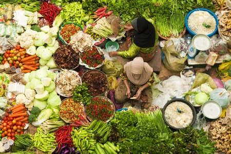 Asian vegetable market in Kota Bharu Malaysia photo