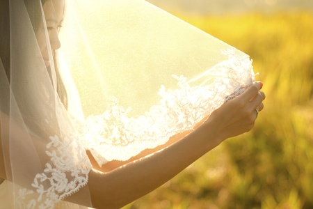 Asian bride under veil at outdoor in a morning surrounding by golden sunlight photo