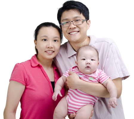 Happy Asian family on white background Stock Photo - 9782679