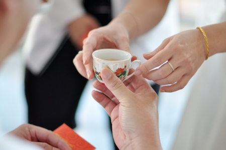 Chinese Wedding Tea Ceremony, soft focus. photo